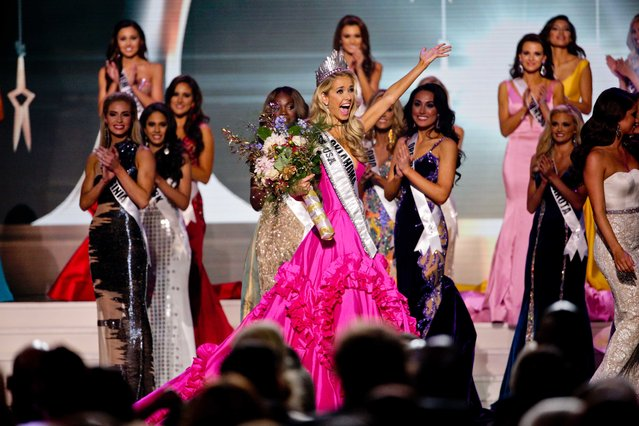 Miss Oklahoma Olivia Jordan celebrates after being named Miss USA  during the 2015 Miss USA pageant in Baton Rouge, La., Sunday, July 12, 2015. (Photo by Derick E. Hingle/AP Photo)
