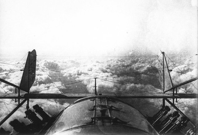 Returning from a reconnaissance flight during World War I, a view of the clouds from above. (Photo by Bibliotheque nationale de France via The Atlantic)