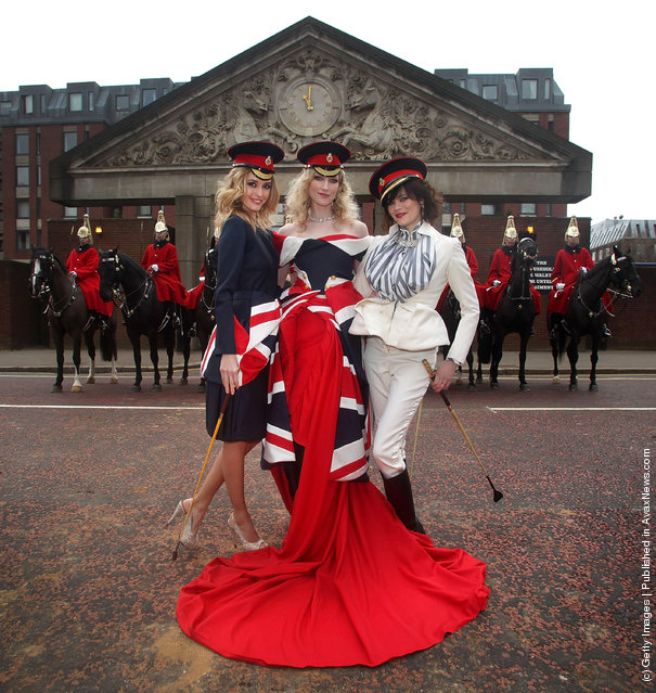 Models Lyza Onysko, Jade Parfitt and Jasmine Guinness launch Fashion for the Brave, a high profile fundraising event for the Household Calvary Operational Casualties Fund and The British Forces Foundation at Hyde Park Barracks