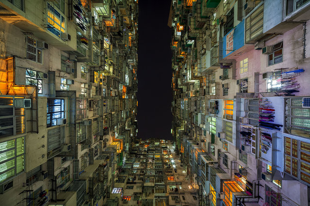Colorful block of apartments in Hong Kong at night. (Photo by Peter Stewart/Caters News)
