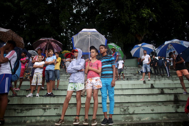 Boys protect themselves from the rain as they watch the friendly match between New York Cosmos and Cuba's national team in Havana June 2, 2015. (Photo by Alexandre Meneghini/Reuters)