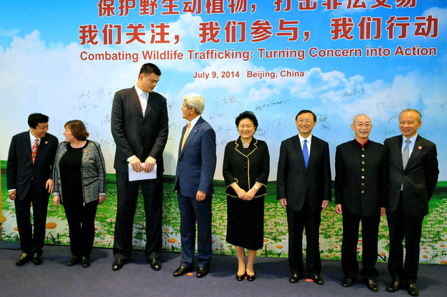 In this  U.S. Department of State handout, U.S. Secretary of State John Kerry (4L) talks with former NBA player Yao Ming (3L) after thanking him for his activism during an anti-wildlife trafficking event on the sidelines of the sixth U.S.-China Strategic and Economic Dialogue on July 9, 2014 in Beijing, China. (Photo by U.S. Department of State via Getty Images)