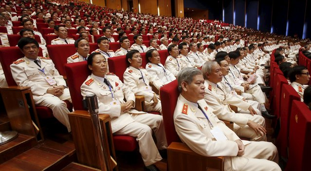 Police generals attend the celebrations to commemorate the 70th anniversary of the establishment of the Vietnam Public Security police force at the National Convention Center in Hanoi August 18, 2015. (Photo by Reuters/Kham)