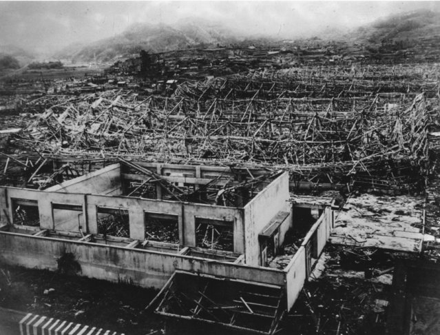 Wreckage of buildings in Hiroshima after the dropping of the atomic bomb, August 1945. (Photo by Keystone/Getty Images)
