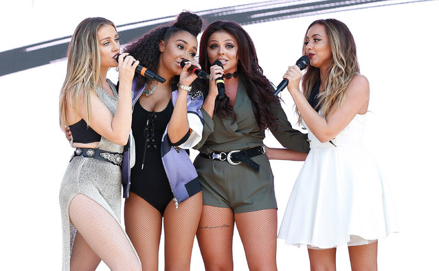 (L-R) Perrie Edwards, Leigh Anne-Pinnock, Jesy Nelson and Jade Thirlwall of Little Mix perform during day 1 at 2015 Billboard Hot 100 Music Festival at Nikon at Jones Beach Theater on August 22, 2015 in Wantagh, New York. (Photo by John Lamparski/WireImage)