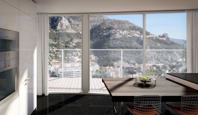 A kitchen. The Sky Penthouse will reportedly have one on each of its five levels. (Photo by Tour Odeon)