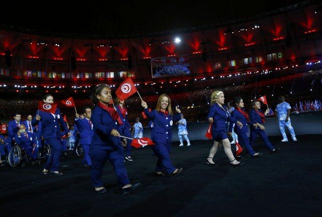 2016 Rio Paralympics, Opening ceremony, Maracana, Rio de Janeiro, Brazil on September 7, 2016. Athletes from Tunisia take part in the opening ceremony. (Photo by Ricardo Moraes/Reuters)