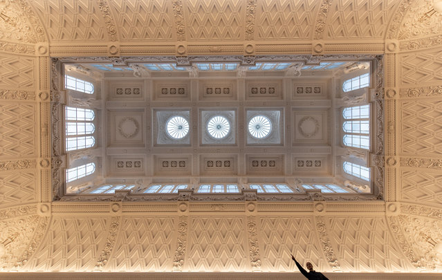 A view of the newly refurbished Grade 1 listed ceiling in the main gallery at the Fitzwilliam Museum in Cambridge, England on October 6, 2019 featuring ornate plasterwork and casts of the Parthenon Frieze, widely considered to be one of the finest museum interiors in the world. (Photo by Joe Giddens/PA Images via Getty Images)