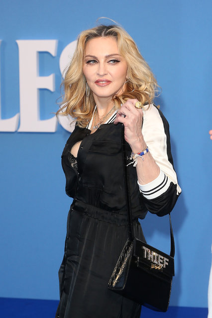 "Madonna arrives for the World premiere of ""The Beatles: Eight Days A Week – The Touring Years"" at Odeon Leicester Square on September 15, 2016 in London, England. (Photo by Fred Duval/FilmMagic)"