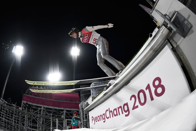 Germany's Andreas Wellinger competes in the men's normal hill individual ski jumping event during the Pyeongchang 2018 Winter Olympic Games on February 10, 2018, in Pyeongchang. (Photo by Jonathan Nackstrand/AFP Photo)