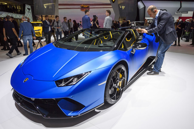 The New Lamborghini Huracan Performante Spyder is presented during the press day at the 88th Geneva International Motor Show in Geneva, Switzerland, Tuesday, March 6, 2018. (Photo by Martial Trezzini/Keystone via AP Photo)