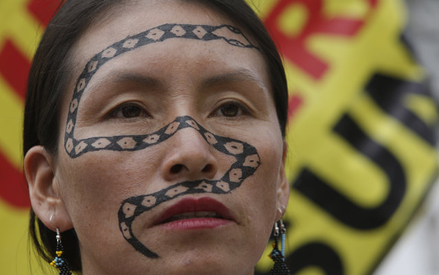 In this March 13, 2018 photo, Salome Aranda, an indigenous woman from the Amazonian town of Morete Cocha, wears a painting of a snake on her face during a demonstration against mining and oil drilling in the Amazon, outside government palace in Quito, Ecuador. Amazonian women are demanding, for a second day in a row, to meet with President Lenin Moreno about the issues. (Photo by Dolores Ochoa/AP Photo)