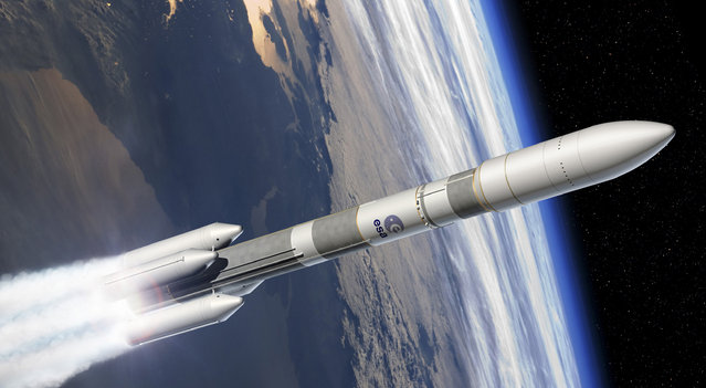This computer image provided by the European Space Agency (ESA), Tuesday, December 2, 2014, shows the Ariane 6 launcher. European governments have agreed to fund the development of Ariane 6, a next-generation rocket that will be used to launch satellites into orbit. About €4 billion have been earmarked for Ariane 6, of which €400 million will come from industry, officials said. (Photo by David Ducros/AP Photo/ESA)