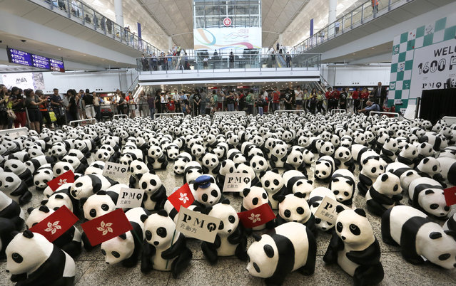 """Part of the 1,600 paper pandas, created by French artist Paulo Grangeon, are displayed at the arrival hall of the Hong Kong International Airport during the opening of the month-long """"1600 Pandas World Tour"""" in Hong Kong Monday, June 9, 2014. (Photo by Vincent Yu/AP Photo)"""
