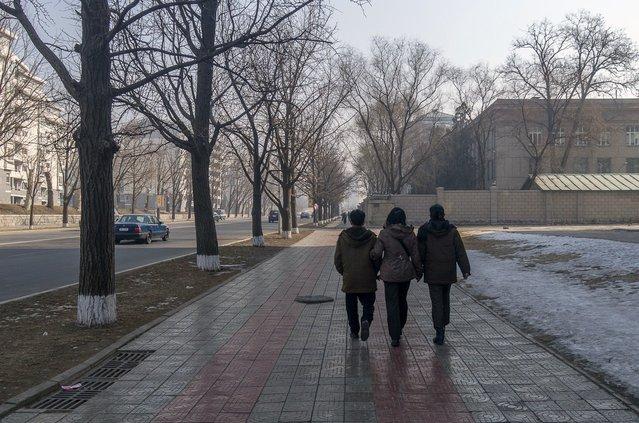 A walk down Mansudae Street, Pyongyang, Feburary 2012. (Eric Testroete)