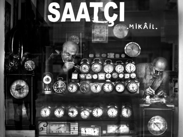 """""""Watchmaker Mikail"""". Mikail the Watchmaker passed his days with them, he fixed the time behind the watches. He was an old man but he liked his job, both his life and time fixing, everybody loved him. Location: Kocaeli/Gölcük. (Photo and caption by Melih Sular/National Geographic Traveler Photo Contest)"""