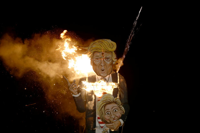 An effigy of U.S. Republican presidential candidate Donald Trump is burnt as part of  bonfire night celebrations in Edenbridge, Britain November 5, 2016. (Photo by Neil Hall/Reuters)