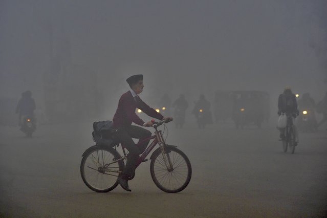 A boy rides a bike to school amid heavy smog conditions in Lahore on February 12, 2021. (Photo by Arif Ali/AFP Photo)