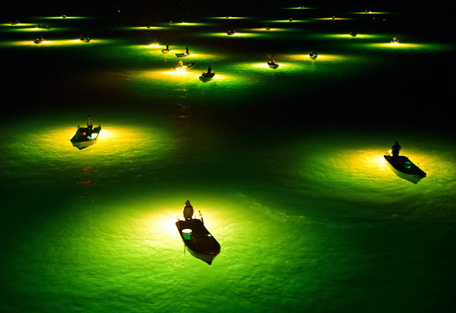 Fishermen with lamps out to collect young eels in Tokushima, Japan. (Photo by The Asahi Shimbun/Getty Images)