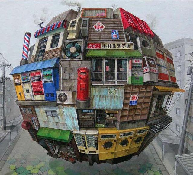 Spherical Floating Orb Painting by Masakatsu Sashie