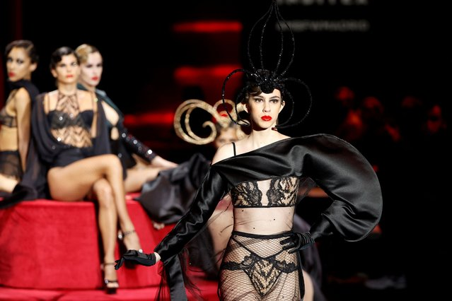 Models display an Autumn-Winter 2021/2022 collection creation by Andres Sarda lingerie brand during a fashion parade on the opening day of 73th Mercedes-Benz Fashion Week Madrid, at IFEMA Convention and Exhibition Center, in Madrid, Spain, 08 April 2021. (Photo by Mariscal/EPA/EFE)