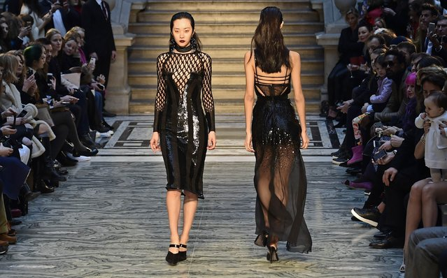 Models wear creations by Julien Macdonald for the Autumn/Winter 2015 collection at London Fashion Week in London February 21, 2015. (Photo by Toby Melville/Reuters)