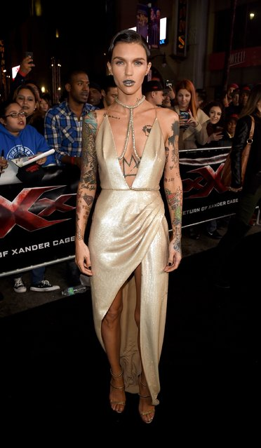 "Actress Ruby Rose arrives at the premiere of Paramount Pictures' ""xXx: Return of Xander Cage"" at the Chinese Theatre on January 19, 2017 in Los Angeles, California. (Photo by Kevin Winter/Getty Images)"