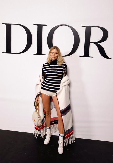 Russian model Elena Perminova poses during a photocall before Dior Spring/Summer 2022 women's ready-to-wear collection show during Paris Fashion Week in Paris, France, September 28, 2021. (Photo by Stephane Mahe/Reuters)