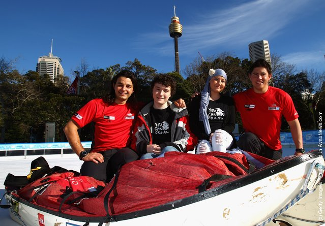James Castrission, Cas and Justin Jones Jonesy ski across an ice staking rink with two You Can patients on August 2, 2011 in Sydney, Australia