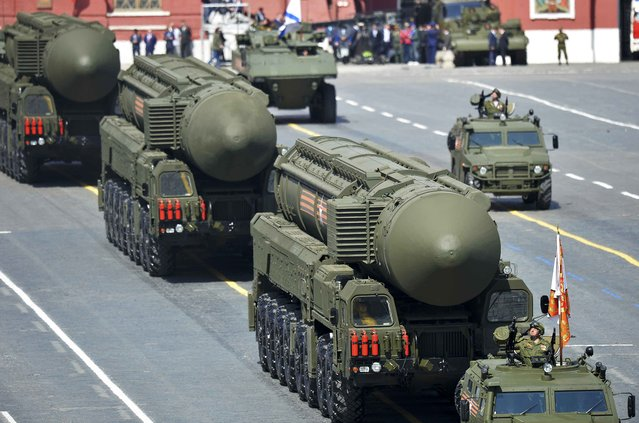 Russian RS-24 Yars/SS-27 Mod 2 solid-propellant intercontinental ballistic missiles drive during the Victory Day parade at Red Square in Moscow, Russia, May 9, 2015. (Photo by Reuters/Host Photo Agency/RIA Novosti)