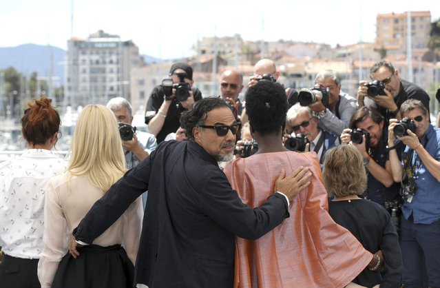 Jury members Alice Rohrwacher, from left, Elle Fanning, jury president Alejandro Gonzalez Inarritu, jury member Maimouna N'Diaye and Kelly Reichardt pose for photographers at the photo call for the jury at the 72nd international film festival, Cannes, southern France, Tuesday, May 14, 2019. (Photo by Petros Giannakouris/AP Photo)