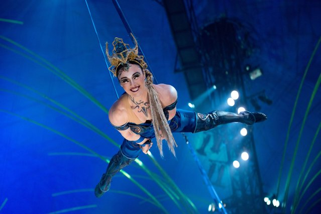 """A cast member of Cirque Du Soleil performs at the """"Cirque Du Soleil Amaluna"""" dress rehearsal at Citi Field in New York. (Photo by 2014 Noam Galai/WireImage)"""