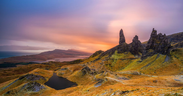 Old Man of Storr, Scotland, looks majestic in the sunset. (Photo by Alessio Putzu/Caters News Agency)