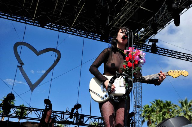 Dee Dee Penny of Dum Dum Girls performs. (Photo by Frazer Harrison/Getty Images for Coachella)