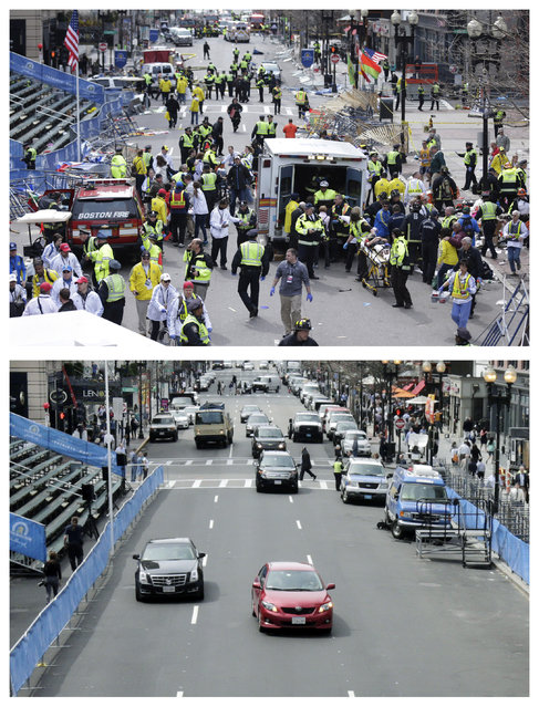 This combination of April 15, 2013 and April 14, 2014 photos shows medical workers aiding injured people on Boylston Street near the finish line of the 2013 Boston Marathon following two bomb explosions, and nearly a year later traffic flowing on the same street as preparations are being made for the 2014 Boston Marathon in Boston. (Photo by Charles Krupa/AP Photo)