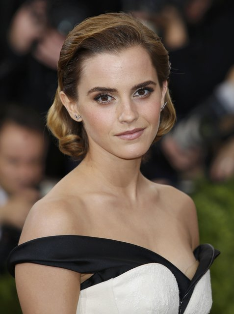 """Actress Emma Watson arrives at the Metropolitan Museum of Art Costume Institute Gala (Met Gala) to celebrate the opening of """"Manus x Machina: Fashion in an Age of Technology"""" in the Manhattan borough of New York, May 2, 2016. (Photo by Eduardo Munoz/Reuters)"""