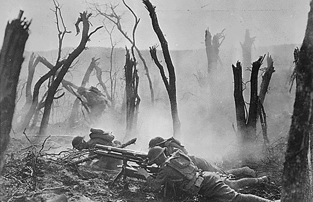 An American gun crew from Regimental Headquarters Company, 23rd Infantry, fires a 37mm gun during an advance against German entrenched positions. (Photo by Reuters/Courtesy Library of Congress)