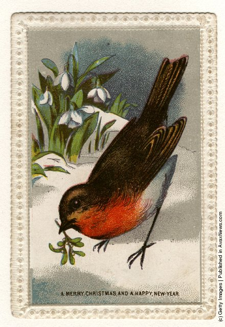 1871: A robin, with mistletoe in its beak and a bunch of snowdrops, features in this Christmas and New Year's greetings card