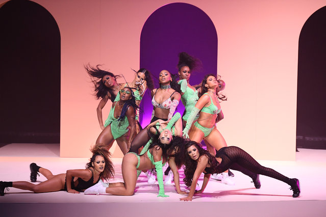 Models pose onstage during the Savage X Fenty Show Presented by Amazon Prime Video – Show at Barclays Center on September 10, 2019 in Brooklyn, New York. (Photo by Dimitrios Kambouris/Getty Images for Savage X Fenty Show Presented by Amazon Prime Video )