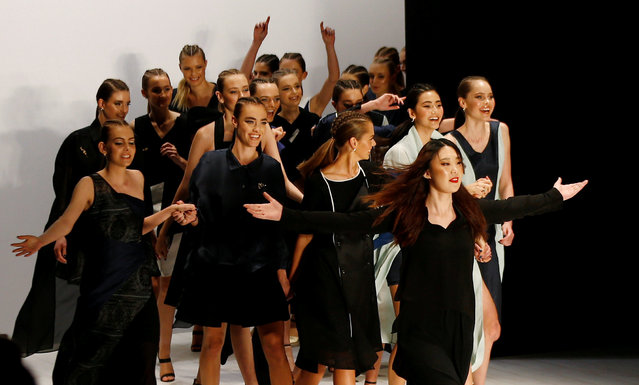 Chinese designer Zhang Yuxin leads models down the runway at the end of her show for the Yuxin collection during Australian Fashion week in Sydney, Australia May 18, 2016. (Photo by Jason Reed/Reuters)