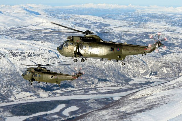 Royal Navy SeaKIng Mk4 helicopters from 845 Naval Air Squadron operating in northern Norway by POA(Phot) Mez Merrill taken from his portfolio which earned him the Peregrine Trophy. (Photo by Mez Merrill/PA Wire)