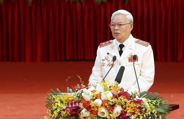 Lieutenant General Le Thanh, former deputy head of Police Department, speaks at the celebrations to commemorate the 70th anniversary of the establishment of the Vietnam Public Security police force at the National Convention Center in Hanoi August 18, 2015. (Photo by Reuters/Kham)