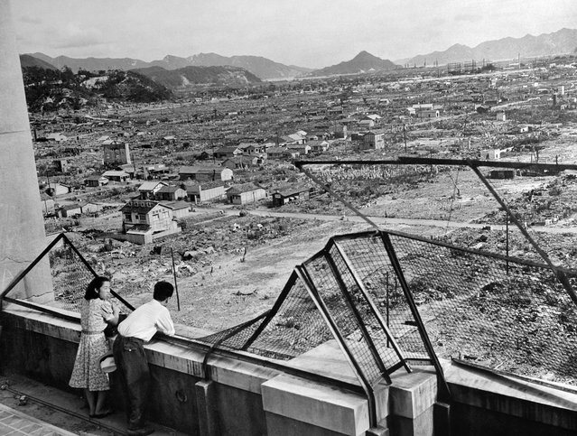 This file photo dated 1948 shows the devastated city of Hiroshima some three years after the US dropped an atomic bomb on the city, 06 August 1945, at the end of World War II. (Photo by AFP Photo)