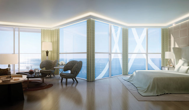 Floor-to-ceiling windows take maximum advantage of the unobstructed views. (Photo by Tour Odeon)
