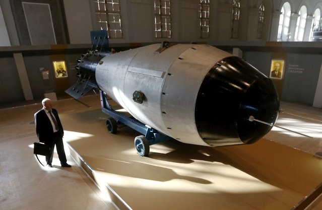 Shell, which is the replica of the biggest detonated Soviet nuclear bomb AN-602 (Tsar-Bomb), is on display in Moscow, Russia, August 31, 2015. The shell is part of an exhibition organized by the state nuclear corporation Rosatom. (Photo by Maxim Zmeyev/Reuters)