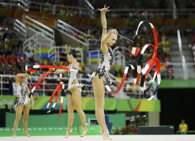 2016 Rio Olympics, Rhythmic Gymnastics, Preliminary, Group All-Around Qualification, Rotation 1, Rio Olympic Arena, Rio de Janeiro, Brazil on August 20, 2016. Team Uzbekistan (UZB) compete using ribbons. (Photo by Mike Blake/Reuters)