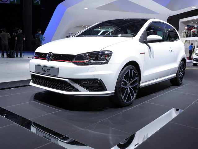 A Polo GTI is displayed at the Volkswagen stand at the Paris Auto Show on October 2, 2014 on the first of the two press days. (Photo by Eric Piermont/AFP Photo)