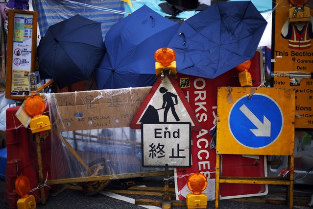 A barricade is seen in an area blocked by pro-democracy protesters near the government headquarters in Hong Kong October 8, 2014. (Photo by Carlos Barria/Reuters)