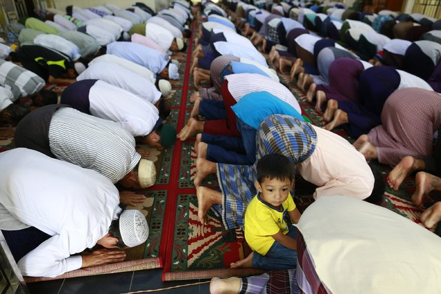 Muslims pray in a mosque during the Eid al-Adha festival in Yangon October 6, 2014. Muslims around the world celebrate Eid al-Adha to mark the end of the haj pilgrimage by slaughtering sheep, goats, camels and cows to commemorate Prophet Abraham's willingness to sacrifice his son, Ismail, on God's command. (Photo by Soe Zeya Tun/Reuters)