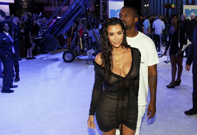 Kim Kardashian and Kanye West arrive at the 2016 MTV Video Music Awards in New York, U.S., August 28, 2016. (Photo by Lucas Jackson/Reuters)